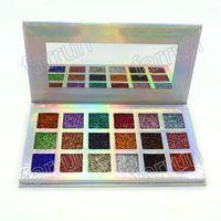 oem lidschatten großhandel-Lidschatten Make-up OEM Private Label Glitter Nasspresse Pulver 18 Farben mischen kein Logo mit Full Pack 18,2 * 10 * 1,2 cm