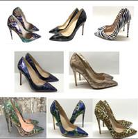 grandes semelles achat en gros de-8/10 / 12cm Designer femmes talons hauts à semelles rouges rivets imprimé léopard pointu chaussures de mariage à talons fines impression sandales à rayures gros code