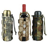 askeri su ısıtıcısı toptan satış-Ayarlanabilir Su Şişesi Kılıfı Taşınabilir Su Şişesi Kapağı Çanta Taktik Kamuflaj Açık Askeri Yürüyüş Kemer Tutucu Kettle Çanta