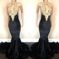 Wholesale velvet open back prom dress resale online - New Arrival Mermaid Prom Dresses Open Back Gold Appliques Sequins Halter Neck Keyhole Front Long Evening Gowns Customize