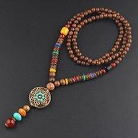 bois ethnique achat en gros de-Main bouddhistes Perles bois rond collier pendentif bijoux Sautoir ethnique Népal Femme Homme