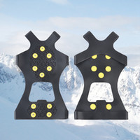 Wholesale crampons grip resale online - 10 Steel Studs Ice Cleats Anti Skid Snow Ice Climbing Shoe Spikes Grips Crampons Cleats Overshoes Climbing Gripper Gifts RRA2243