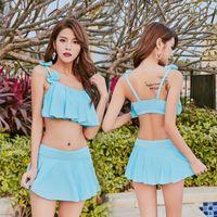 terno feminino aberto venda por atacado-Biquíni praia Sexy Swimsuit Dividir Body Swim Desgaste Aberto Para Trás Cor Sólida Maiô Feminino Ângulo Plana Saia Tipo 17 5llC1