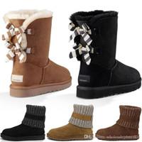 kürk ayakkabıları siyah kadınlar toptan satış-Tasarımcı Toptan Kış Sıcak Kabarık Bailey Tall Kürk Kauçuk Taban Dana Derisi Düşük Kadınlar Için Kürk Kar Botları Erkekler Siyah Gri Açık Havada Rahat ayakkabı