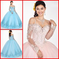 ingrosso vestito blu dal merletto del manicotto lungo-Elegante Baby Blue Light Pink 2019 Quinceanera Prom dresses Maniche lunghe Cold Shoulder Style Ball Gown Lace Evening Party Sweet 16 dress