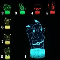 Wholesale turtle night light lamp resale online - Japanese Funny Game Pikachu Eevee Sylveon Squirtle Zenigame Turtle Ball Figure D Lamp USB LED Night Light Illusion Mood Lighting Home Deocr
