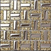 paredes amarillas de la cocina al por mayor-Azulejo de pared de baño de mosaico de vidrio de oro amarillo plata plateado galvanizado CGMT1901 azulejos de pared