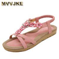 sandalias planas para mujer al por mayor-MVVJKE Zapatos de verano bohemio Dulce para mujer Flores Sandalias planas Rhinestones de alta calidad Casual Flats Plus Size 35-42 Sandalias