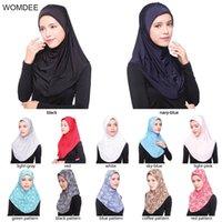 turbante negro al por mayor-Womdee musulmán Hijab islámico Jersey Turban mujeres Ninja negro bajo el pecho Gorras Instantáneo bufanda de la cabeza cubierta completa Cubiertas interiores 72 * 72