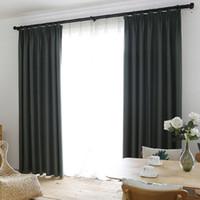 quarto preto amarelo venda por atacado-Faux linho 70% -85% de sombreamento Custom Made isolante estilo moderno cor sólida Blackout cortina para sala de estar janela Decoração