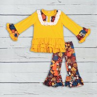 Wholesale baby girl dresses price resale online - Bulk Price CONICE New Arrival Baby Girl Clothes Yellow Pants Ruffle Splice Print Dress Kids Fashion