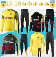 eşofman spor takım elbise erkek toptan satış-2019 çocuk eşofman Ceket Takımı Erkekler Takımı uzun kollu 19/20 Eğitim takım elbise pantolon futbol Borussia Reus spor çocuklara 10-18 yetişkin S-2XL giysi