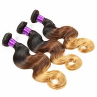 ombre bakire saç toptan satış-# 1B 4 27 Renk Omber Brezilyalı Vücut Dalga Saç Örgüleri Ombre Virgin İnsan Saç Uzantıları 3 Paketler Brezilyalı İnsan Saç Ücretsiz Nakliye
