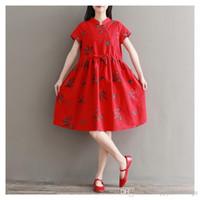 robes transparentes rouges fille achat en gros de-Mori Girl Robes rétro d'été à manches courtes Col montant Bouton oblique Élégant imprimé fleuri Robe rouge