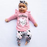 terno de bebê meninos bege venda por atacado-Recém-nascido roupa da criança infantil do bebê Meninas Meninos Roupas Carta Imprimir Tops Calças geométricas Outfits Set roupa infantil