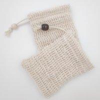 Wholesale mesh pouch resale online - Soap Saver Neatening Foaming Natural Mesh Pouches Holder For Shower Bath Sisal Cotton Linen Soap bag DHE114
