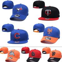 mavi kapaklar beyzbol toptan satış-2019 Erkek kadın Mavi Jays Yüksek kaliteli örgü Beyzbol Şapkası Ikizler Yavrularını Marlins # Kardinaller # Devler # Mets Beyzbol Şapka