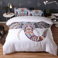ingrosso letto di elefante della regina-3 pezzi di biancheria da letto di marca bianca animale Elephant 3D di lusso Copripiumino di lusso Copripiumino Queen King Twin Designer
