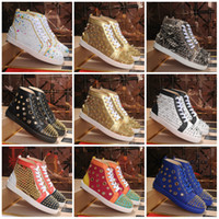 Wholesale spike rivet women flat shoes resale online - 2019 Red Bottoms Shoes Studded Spikes Flat designer Sneakers For Men Women Low Cut Suede Glitter Party Lovers Wedding Genuine Leather Rivet