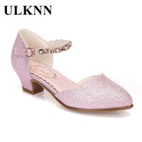 Wholesale high heels shoes for children for sale - Group buy Ulknn Princess Girls Sandals Kids Shoes For Girls Dress Shoes Little High Heel Glitter Summer Party Wedding Sandal Children Shoe Y19051303
