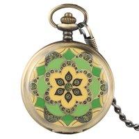 steampunk bronz zincir toptan satış-Nefis Bronz Steampunk İskelet Mekanik El Sarma Pocket saat Zincir Kadınlar için Vintage Fob Saat Erkek Hediyeler