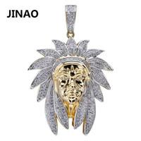 cadenas indias al por mayor-Iced Out Indian Chief Head Charm Collares pendientes Hip Hop Oro Color plata Cadenas para hombres Máscara Regalos indios Joyas Nativo J190625