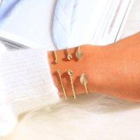 vintage-manschetten-set großhandel-Blatt öffnen Armbänder Stulpe-Armband-Set 3PCS Punkgold Twist Kettenarmband für Frauen Charm Beach Hochzeit Vintage-Schmuck-Geschenke