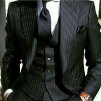 rayas negras novio trajes de etiqueta al por mayor-Hot Sale Groom Tuxedos Black con raya Groomsmen Peak Lapel Mejor traje de hombre Boda / Trajes de hombre Novio (Chaqueta + Pantalones + Chaleco + Corbata) A340