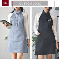 Wholesale work bibs resale online - 2019 New Fashion Canvas Cotton Apron Coffee Shop And Barber Working Apron Bib Cooking Kitchen Aprons For Woman Custom