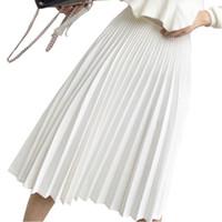 faldas largas elegantes de las mujeres blancas al por mayor-2019 Primavera Mujeres Elegante Falda Plisada Mujeres de Cintura Alta Falda Larga Blanca Señoras de Las Mujeres de Alta Calidad Falda Midi Negro Saia Y19060301