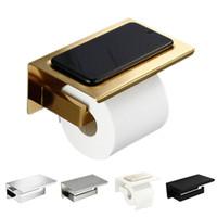 baño inodoro portaescobillas cepillo al por mayor-Soporte de papel higiénico SUS304 de oro cepillado con estante Accesorios de hardware de baño Soporte de tejido Negro / Cromo / Blanco