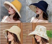 Wholesale white wide brim summer hat resale online - Wide brimmed suntan hat for women fashionable Japanese black harajuku harbor wind summer versatile two faced fisherman hat