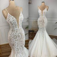 Wholesale charming elegant sexy lace backless mermaid resale online - 2019 Mermaid Lace Bead Wedding Dresses Spaghetti Sexy Vintage Bridal Dresses Charming Elegant Sweep Train Wedding Gowns