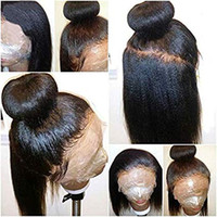 Wholesale black american human hair wigs resale online - African American Yaki straight lace frontal human hair wig pre plucked lace wig light yaki for black women