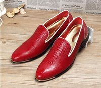mens bräutigam freizeitschuhe großhandel-Echtes Leder Herrenschuhe Mens Dress Shoes Bräutigam Hochzeit Schuhe flach Herren Casual Oxfords