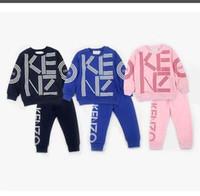 erkekler için moda eşofman toptan satış-KZ bebek erkek kız eşofman çocuklar marka eşofman çocuk mont pantolon 2 adet / takım çocuklar giyim sıcak satış yeni moda İlkbahar sonbahar.