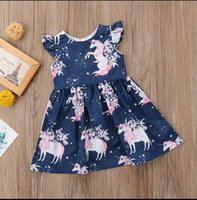Wholesale gowns style clothes online - Unicorn night star floral print girl dress princess dress Fashion Toddler Kids designe Baby Girls Clothes Party Pageant Gown Dress Sundr