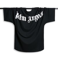 camiseta de manga murciélagos al por mayor-Palm Angels T-shirt Hombres Mujeres Manga Murciélago camiseta Harajuku camiseta Hip hop Streetwear Marca Verano Ropa de Algodón Camisetas Impresas Tops Moda