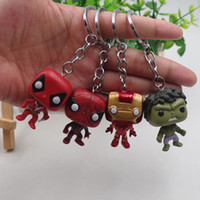 Wholesale keychain set resale online - Funko Pop Keychain The avengers Action Figures Anime Collection Doll kids Toys Movie Anime Key chain Keyring kids toys