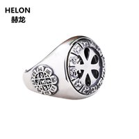 montajes de anillo de boda de la vendimia al por mayor-925 hombres de plata esterlina anillo de compromiso de boda 13x13 mm redondo Cabochon semi montaje anillo ajuste ámbar turquesa ajuste Vintage
