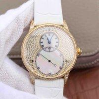 weiße edelsteine großhandel-2019 neue Luxus-Herrenuhr 42 Lederband wasserdicht Geschäft automatische mechanische Bewegung Uhren Sportuhr Shell weißen Diamanten Zifferblatt