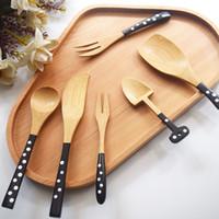 cuchara tenedor de madera al por mayor-6 estilos lunares cucharas de madera lindo Deserst cuchara de madera tenedor palas casa vajilla cocina cantina ccessories cubiertos FFA2335