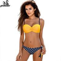xxl seksi bikini toptan satış-Seksi Bikini Kadın Mayo 2019 Yaz Düşük Belli Mayo Halter Üst Push Up Bikini Set Artı Boyutu Mayo XXL