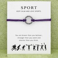 führer geschenke großhandel-Cheerleader Sport Armband Mit Karte unendlich wünsche jubeln führer Charme Wachs seil warp armreif Für frauen Männer Modeschmuck Geschenk