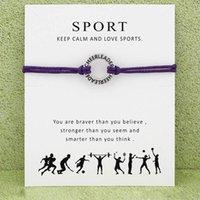 braceletes de corda para mulheres venda por atacado-Cheerleader Sports Bracelet Com Cartão infinito desejo cheer líder Charme Wax corda urdidura pulseira Para mulheres Homens Moda Jóias Presente