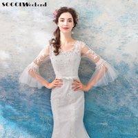 flare fildişi gelinlik toptan satış-Toptan Kar Beyaz Gelinlik 2019 Zarif Fildişi Mermaid Evlilik Elbiseler Yarım Parlama Kollu Çin Ucuz Abiye