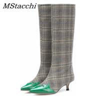 kniehohe plaidstiefel großhandel-MStacchi 2019 Mode Frauen Stiefel Plaid Tuch Green Leaf Decor Patchwork Britischen Stil Spitz Kitten Ferse Kniehohe Stiefel
