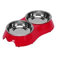 ingrosso ciotola per i gatti-Pet Puppy Dog e Cat antiscivolo Doppio Bowl Design Melamina estraibile in acciaio inox Diner Food Water Bowl Alimentatore