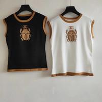 kadınlar için kolsuz kazaklar toptan satış-2019 Milan Pist T-Shirt O Boyun Kolsuz kadın T-Shirt High End Jakarlı kazak Kadın Tasarımcı T-Shirt 062007
