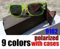 tendências da moda masculina venda por atacado-Com Pacotes de 9 cores Moda Óculos De Sol Lente Polarizada Homens Mulheres Esportes Óculos de Sol Tendência Óculos Masculino Óculos de Condução 9102 Gafas 10 PC